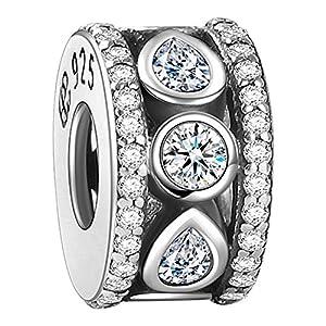 Soufeel Damen Beads Weiß Kristall Reif Stopper 925er Sterling Silber für Armband