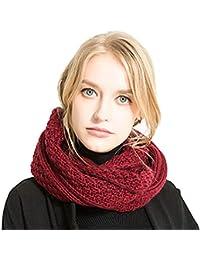 Tacobear Unisexe Tricot Laine Écharpes Femmes hiver chaud épais foulard  boucle Cercle Echarpe Femmes Hommes tricotée c98603c0839