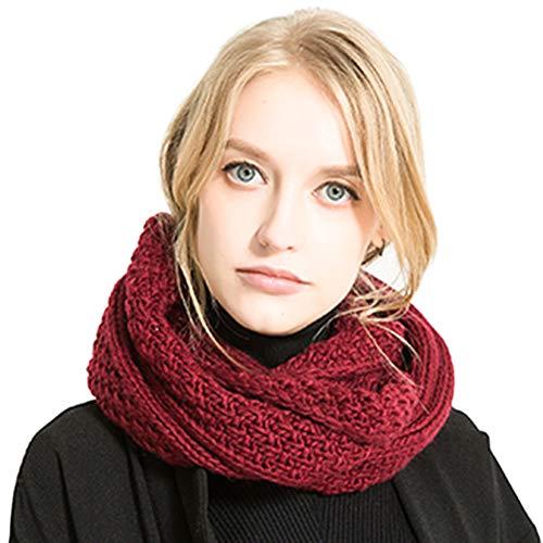 Tacobear Unisex Bufanda Círculo Cuello Invierno Bufanda Punto Mujer Gruesa Caliente Bufanda Invierno Punto para Mujer Hombre (Rojo)