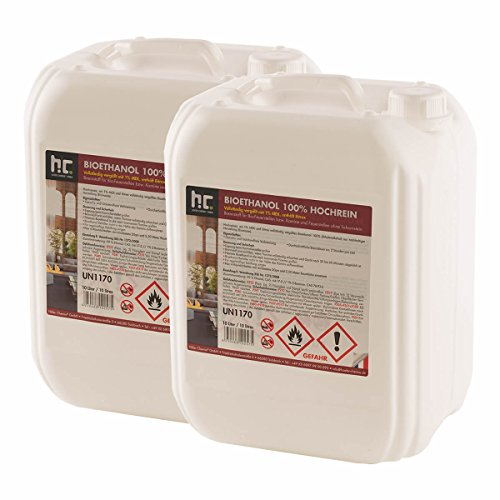 Höfer Chemie 20 L Bioethanol 100{8ee40cbc6eb11d563c1fb73d012481ec10a01848b80bca09966d62adb5d8bf1e} Hochrein (2 x 10 L) für Ethanol Kamin, Ethanol Feuerstelle, Tischfeuer und Bioethanol Kamin