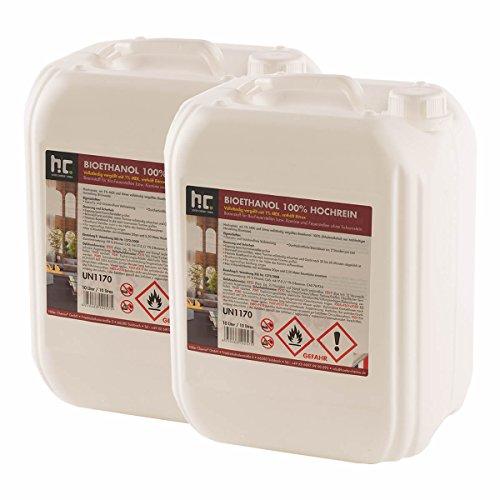 Höfer Chemie 20 L Bioethanol 100{ab39ec7bac0caa0722fb2607716ebc841eb772e16c5812f76d0b42476fc38288} Hochrein (2 x 10 L) für Ethanol Kamin, Ethanol Feuerstelle, Tischfeuer und Bioethanol Kamin