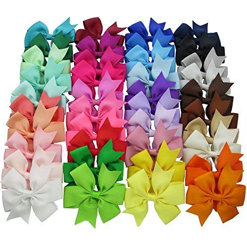 Cozyswan Haar-Clips, 40 Stück / Farben modisches Design Für Mädchen, Boutique Alligator-Clip mit Haarschleifen