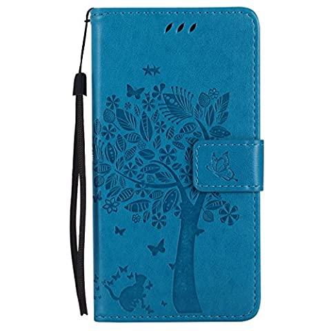 HTC One M8 Case Leather [Blue], Cozy Hut [Wallet Case] Premium Soft PU Leather Notebook Wallet Embossed Flower Tree Design Case with [Kickstand] Stand Function Card Holder and ID Slot Slim Flip Protective Skin Cover for HTC One M8 5,0-