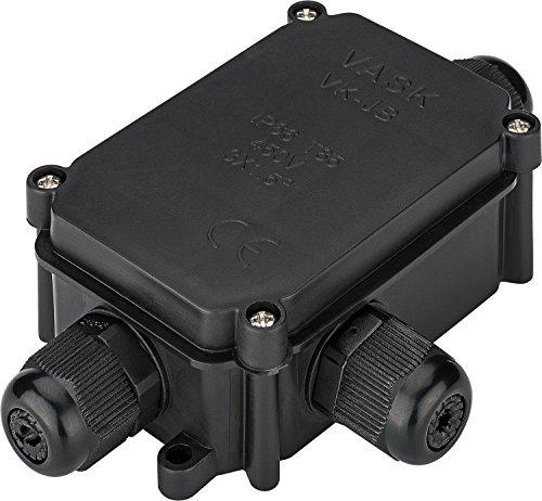 Goobay IP-66 Schutzbox für Lüsterklemmen, wasserdicht, Verbindungsbox Abzweigdose Verteilerdose , 1 Stück, schwarz, 56660