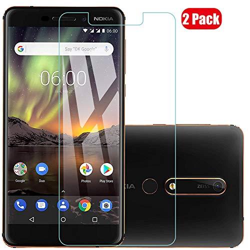 Voviqi Nokia 6 2018/Nokia 6.1 Panzerglas, 9H verbesserte gehärtetes Glas Folie [Blasenfrei] [Anti-Fingerabdruck] Bildschirmschutzfolie für Nokia 6 2018/Nokia 6.1, 2 Stück