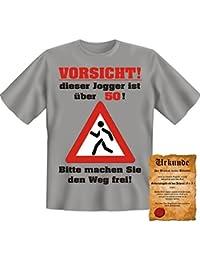 Witzige Geburtstag Sprüche Fun Tshirt! Vorsicht! Dieser Jogger ist über 50! - T-Shirt in Graumeliert mit Gratis Urkunde!