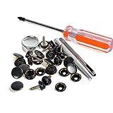 Holz bis Stoff Pack 10Sets 15mm schwarz Metall Druckknöpfe Druckknöpfe W/Schrauben + Einstellung-Werkzeug Schraubendreher