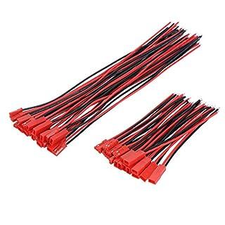 20 Paare 22 AWG JST Steckverbinder 2 Pin Männlich Weiblichen Stecker Verbinderkabel Wire für LED Lampe Streife RC Spielzeug Batterie, 4 Zoll, 6 Zoll