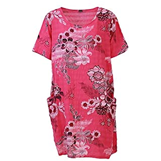 Love My Fashions Romilly Cotton Floral Short Sleeve Shift Dress Fuchsia Pink