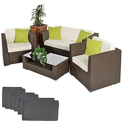 TecTake® Hochwertige Alu Luxus Lounge Set Poly-Rattan Sitzgruppe Gartenmöbel braun mit 2 Bezugsets und 4 extra Kissen mit Edelstahlschrauben