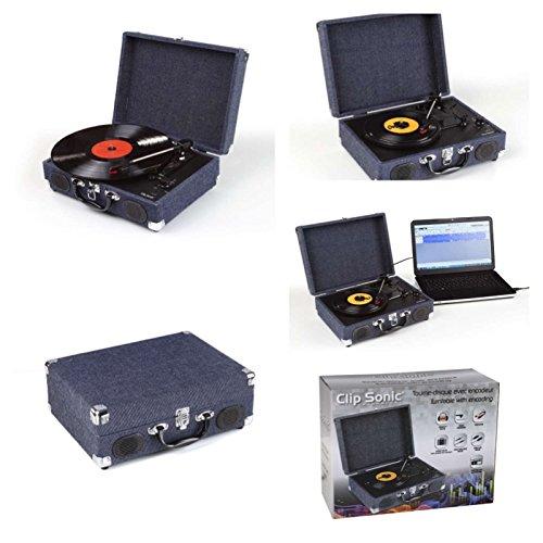 Akku Schallplattenspieler mit Encoder Konvertieren in MP3 Halbautomatischer Plattenspieler mit Lautsprecher Riemenantrieb Retro (Audacity Software, 2 Geschwindigkeiten, USB-Anschluss, Stereo-Sound)
