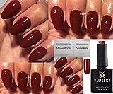 Bluesky -  Vernis à ongles rouge rouille, tons marron d'automne et hiver, gel à séchage UV et LED de 10ml livré avec 2 lingettes à lustrer LuvliNail