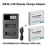 Enjoyall Ladegerät Kit für Digitalkamera, Action Kamera Akku 1600MAH Batterie USB Ladegerät für Canon Digital