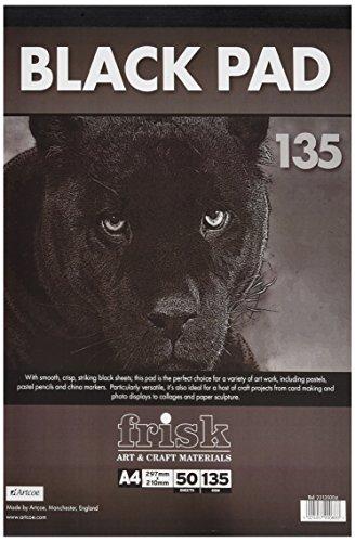 Frisk - Blocco di carta nera, formato A4, da 135 g, 50 fogli