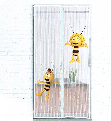 Original Biene Maja Insektenvorhang - Luftdurchlässiges Fliegengitter schließt automatisch und in Sekundenschnelle - Universaler Fliegenvorhang 100x210cm - Montage ohne Bohren oder Schrauben (Terrassentür Vorhänge)