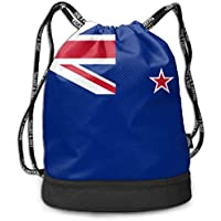ZKHTO Flag of New Zealand Large Drawstring Sport Backpack Sack Bag Sackpack 8fc928a446ff