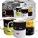 Tazza magica che cambia colore, divertente tazza da tè e caffè che cambia il calore, da 340 ml, tazza in ceramica carina idea compleanno per mamma, papà, donne e uomini, Colorato, 3 pezzi
