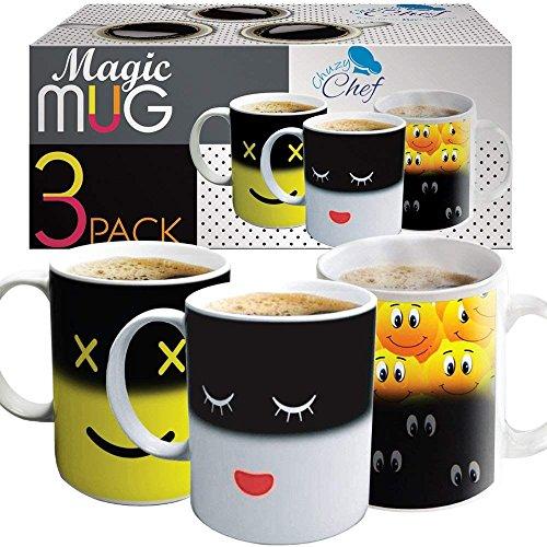 Juego de tazas mágicas de café sensibles al calor. Juego de tazas de café de color bonito y con diseño de lunares sonrientes, color blanco y amarillo, 3 unidades