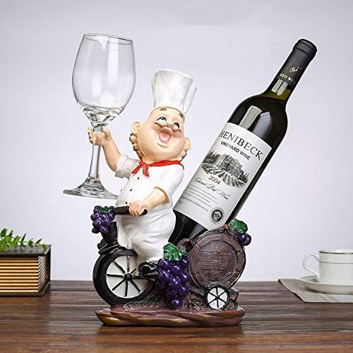 JINRU Fat Chef Resin Dekorative Weinflaschenhalter Rack,White Fat-chef