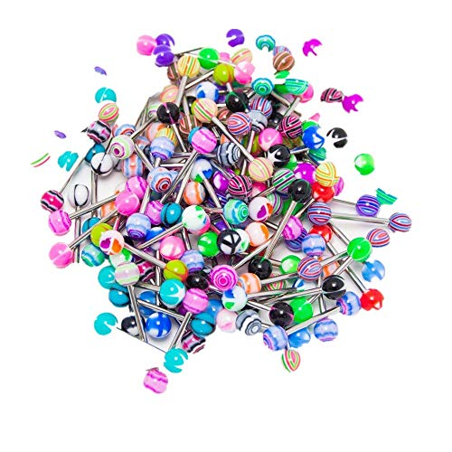 VICKY-HOHO Edelstahl Ball Barbell Zunge Ringe Bars Piercing Kosmetik 30PCS Bunt (Mehrfarbig, Rostfreier Stahl) - Bauchnabel-ringe Anker