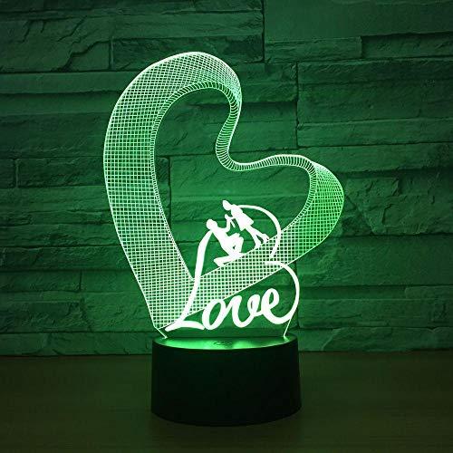 Liebe herz 3d nachtlicht led tischlampe 3d illusion lampe romantische partei atmosphäre für hochzeitsdekoration frau geschenk usb wiederaufladbare schlaf licht
