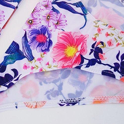 Honghu Damen Böhmen Bikini-Set Badenanzug Blumendruck Neckholder Swimsuit Zweiteilig Schwimmanzug Weiß