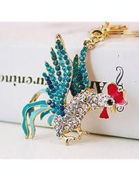 Yunfeng Lindo Llavero Colgante Lindo del Coche del Diamante Artificial de la aleación del cinc del Llavero de la Polla del…
