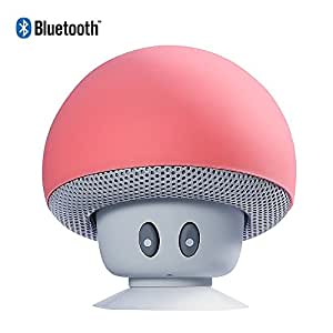 Oumeiou Mushroom Portable Bluetooth 4.1 Universal Wireless Bluetooth Speaker /Mini Car Bluetooth Speaker for Smart Phones (Red)