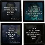 Indianara 4 Piece Set Of Framed Wall Hanging MOTIVATIONAL QUOTES OF STEVE JOBS, BILL GATES, MIKE DITKA, ROBERT T. KIYOSAKI Art Prints 8.7 Inch X 8.7 Inch Without Glass