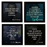 #9: Indianara 4 Piece Set Of Framed Wall Hanging MOTIVATIONAL QUOTES OF STEVE JOBS, BILL GATES, MIKE DITKA, ROBERT T. KIYOSAKI Art Prints 8.7 Inch X 8.7 Inch Without Glass