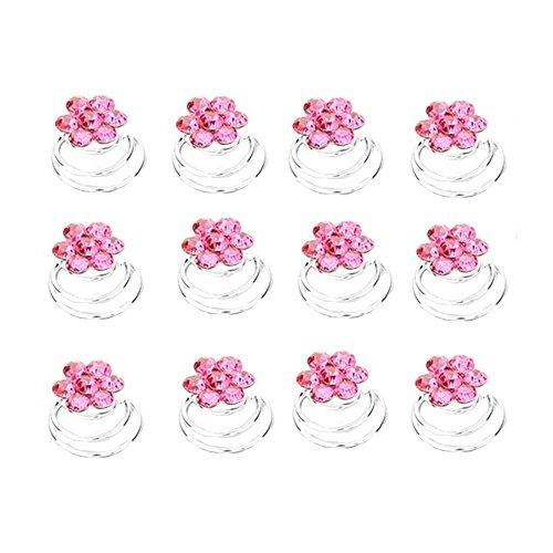 Schmuckanthony 12 Stück Brautschmuck Hochzeit Haarspiralen Spiralen Curlie Curlies Haarschmuck Haarnadeln Silber Blumen Kristall Pink Rosa...