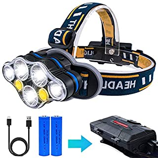 LED Headlamp, AOMEES Head Torch Headlight USB Rechargeable with Red Warning Light