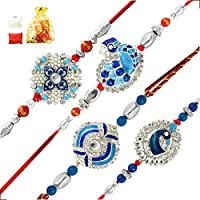 This combo of four crisp and peacock of inspired rakhis is all you need to show your brother the adoration you hold for him. The rakhis come with a potli containing gulal/kumkum and rice. The gulal/ kumkum is chemicalless and is completely or...