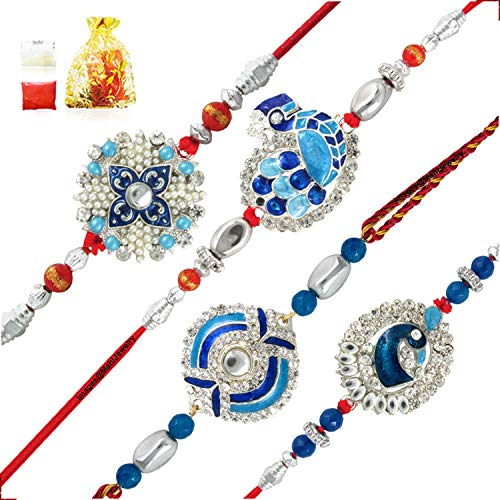 Mahi Combo of Blue Alloy Peacock Brass Rakhis for Men with Artificial Pearl, Meenakari Work and Rhodium Plating - 4 Pieces(Gold, Red, White, Blue)