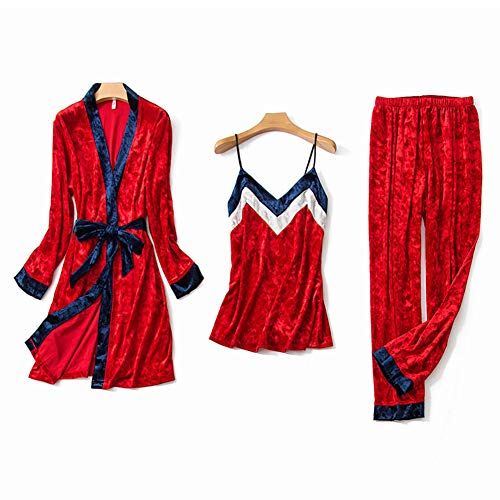 A~LICE&SY& Pajamas Gold Velvet Women ' S Sexy Three-Piece Herbst and Winter Sling Trousers Nightgown Home Service ()