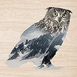 Cuadros Lifestyle 2D-Wandobjekt aus Holz | Uhu | Berge | Schnee | Holzbild | Shabby-Look | Landhaus | Vintage | Holzobjekt | Deko | Holzdruck | Geschenk, Größe:ca. 50x50cm