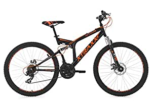 "Full Suspension Mountain Bike 26"" Xtraxx Black-Orange 21 Gear KS Cycling"