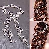 WOWOSS 100cm Haardraht Hochzeit Haarschmuck Haardraht Perlen Strass Brautschmuck Braut,Strassbesatz Haarband und Stirnband mit Kristall,Kopfschmuck Kopfabdeckung für Frauen und Mädchen