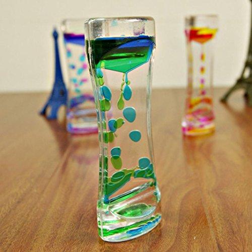 Doble color aceite de vidrio de hora, líquido flotante movimiento burbujas temporizador de escritorio decoración calmante sensorial fidget cristal horas sensorial visual relajación escritorio juguete Medium verde
