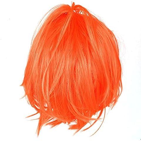 SourcingMap peluca corta recta, naranja / rojo 31 cm