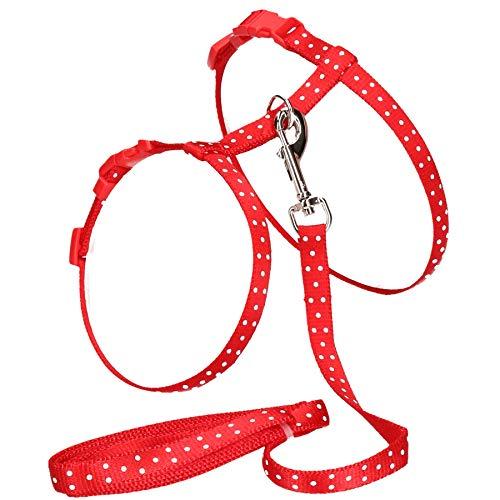 AB Tools Red kleines Tier Poka Dot Kabelbaum & Blei (Hals Brust 14-20/18-28 cm) (Poka Dot)
