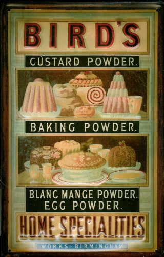 cartel-de-chapa-nostalgico-birda-s-home-speci-alities-custard-baking-powder