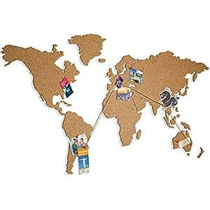 murando – Mappa del mondo Grande Formato L – 100% Autoadesivo Sughero – Qualcosa di nuovo – Da incollare direttamente sul muro – Sughero – k-A-0102-u-a ca. 140x75 cm