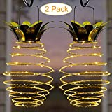 Oyalaiy Solar Lights Pineapple, Hanging Solar Lanterns 2 Pack 30 LED Solar Garden Lights Outdoor Decor Pineapple Fairy Lights Solar Patio Lights, Waterproof Solar String Lights for Patio Yard Decor