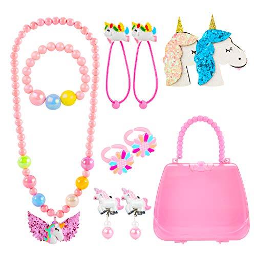 Kleine Mädchen Handtasche Halskette Einhorn Armband Ring Haar Klammern Einstellen Set, Einhorn schmuck Party Favors Geschenk zum Anziehen Pretend Play ()