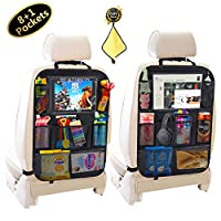 Car Backseat Organizers,Kick Mats with 8 pcs Storage Pockets+10 inch Touch Screen Tablet Holder,Car Seat Back Protectors for Toys Drink Tissue Snacks,Car Accessories for Kids & Toddlers (2Pack+1Bonus)