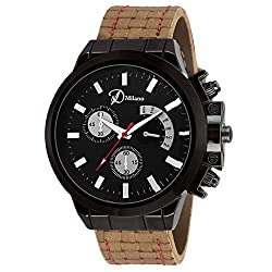 DMilano Men Black Sports Casual Analog Watch