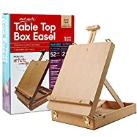 Mont Marte Adjustable Easel Wood Table Sketch Box Easels, Portable Art Easel for Painting and Drawing