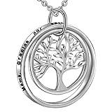 LOVORDS Collar Mujer Grabado Plata de Ley 925 Colgante Árbol de la Vida Familiar Círculo Regalo Madre Mamá