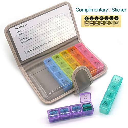 PuTwo Pastillero 7 días 28 compartimentos Pastillero Organizador Semanal Plástico con Estuche de Cuero Dispensador de Medicamentos Grande Medicamentos Organizador Dosificador de Medicamentos - Gris